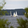 Record-Eagle/Keith King<br /> A bevy of boats enjoy a balmy sail on West Grand Traverse Bay as part of a Grand Traverse Yacht Club regatta.