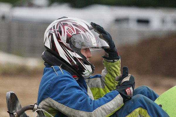 Record-Eagle/Keith King<br /> Anthony Deming, 13, of Bay Port, nears the starting line as he prepares to race in the go-cart races Monday, August 5, 2013 during the annual Northwestern Michigan Fair in Blair Township.