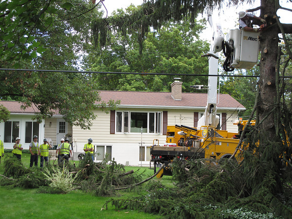 Record-Eagle/Matt Troutman<br /> Crews trim branches from a pine tree in the 600 block of East Orchard Drive before.