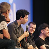 "Record-Eagle/Keith King<br /> Alex Karpovsky (""Supporting Characters"" and ""Red Flag"") speaks as Christopher Kenneally (""Side by Side""), second from right, and Mark Cousins (""The Story of Film""), far right, listen Saturday, August 4, 2012 at the City Opera House during a panel discussion about digital technology and film technology in the movie making industry."
