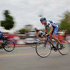Record-Eagle/Keith King<br /> Fern Spencer, of Traverse City, races along Cass Street Friday during the Cherry-Roubaix downtown bicycle sprints.
