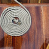 Record-Eagle/Jan-Michael Stump<br /> Line sits coiled on the deck of the Penobscot 14 Paul Anderson, of Maple City, built himself.