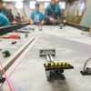 Record-Eagle/Keith King<br /> LEGO structures stand as teams practice Thursday at Traverse City West Middle School for Saturday's FIRST (For Inspiration and Recognition of Science and Technology) LEGO League qualifying tournament hosted by Grand Traverse Academy.