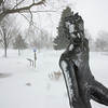 Record-Eagle/Keith King<br /> Snow lies on a sculpture Sunday at Clinch Park in Traverse City.