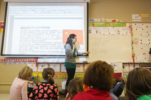 Record-Eagle/Keith King<br /> Yiling Liu, from China, teaches Wednesday in her class at Traverse City Area Public Schools (TCAPS) International School at Bertha Vos in Williamsburg.