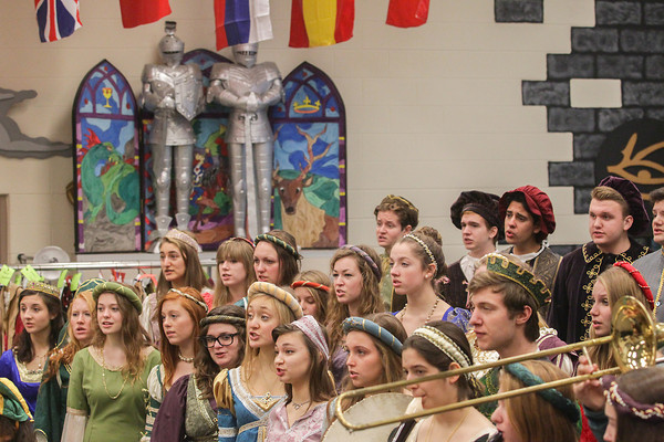 Record-Eagle/Keith King<br /> Traverse City West High School students rehearse Thursday for the 17th annual Elizabethan Madrigal Feaste scheduled for December 13, 14 and 15. Proceeds from the event are to support the Traverse City West High School choral department.
