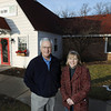 Record-Eagle/Keith King<br /> Max Binkley, left, of Williamsburg, and Kim Schmitz, of Traverse City, stand Friday, December 14, 2012 outside the Traverse City Senior Center.