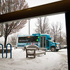 Record-Eagle/Jan-Michael Stump<br /> A Commission on Aging Senior Transit (COAST) bus arrives at the Traverse Area District Library to pick up a rider on Wednesday afternoon. The new program provides Grand Traverse County seniors with door-to-door reserved-ride bus service two days a week.