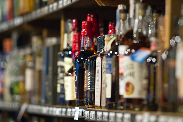 Record-Eagle/Jan-Michael Stump<br /> Bottles of bourbon on a shelf at The Beverage Company in Traverse City.