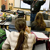 Record-Eagle/Keith King<br /> Tom Czarny talks with students Tuesday prior to a test in his Advanced Placement biology class at Traverse City Central High School.