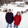 Record-Eagle/Keith King<br /> Dale Flaherty and Jan Curtice stand Tuesday at Burnett Park in Lake Ann, where a number of Christmas decorations recently were stolen.