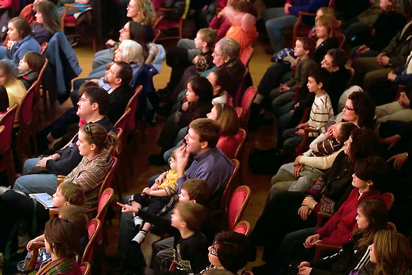 "Record-Eagle/Jan-Michael Stump<br /> A City Opera House audience watches Comedy Sports, a competitive improv show between the ""Cherry Picker"" and the ""BLue Fudgies,""during February's Traverse City Comedy Arts Festival."