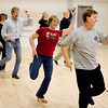 Record-Eagle/Keith King<br /> From right, Rodney Woodring, Denise Busley and Kevin Shaw, as well as other participants in the SwingShift and the Stars Dance-Off for Charity, practice at the Dance Center in Traverse City.