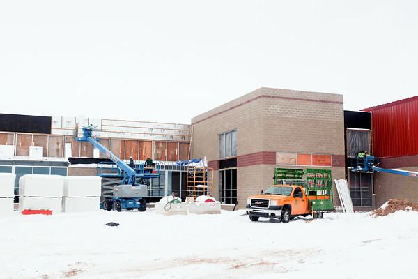 Record-Eagle/Keith King<br /> Work takes place Thursday at the new YMCA in Traverse City.