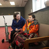 Record-Eagle/Keith King<br /> Christina Probert, of Traverse City, sits with her son, Julius Probert, 10, in the store, Misc. Presents, in the complex that was formerly known as Horizon Outlet Mall, in Traverse City.