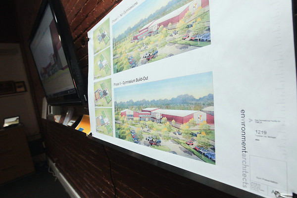 Record-Eagle/Keith King<br /> Renderings of YMCA development phases are displayed Wednesday at Environment Architects in Traverse City.