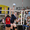 Record-Eagle/Keith King<br /> <br /> Traverse City St. Francis' Bridget Bussell hits the ball against Boyne City Tuesday, November 6, 2012 at Traverse City St. Francis High School.