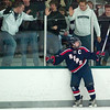 Record-Eagle/Jan-Michael Stump<br /> Bay Reps forward Michael Elliott celebrates his first period goal against Traverse City Central.