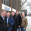 Record-Eagle/Glenn Puit<br /> The Chase Bank building at 250 E. Front St. has been sold to a local development partnership involving Snowden Development and Miller Investment Company. From left to right are Jerry Snowden of Snowden Development and Kelly Miller, Chad Miller, Adam Miller and Kurt Yeiter, all of Miller Investment.