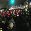 Record-Eagle/Keith King<br /> People gather at the intersection of Front Street and Cass Street Monday, December 31, 2012 for the 4th annual CherryT Ball Drop in Traverse City.