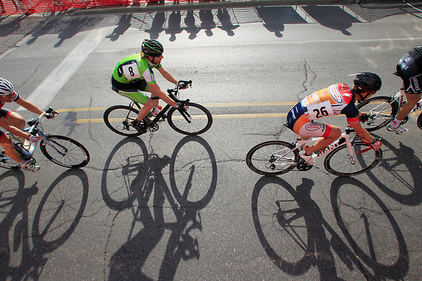 Record-Eagle/Jan-Michael Stump<br /> Riders race down Union Street during the Cherry Roubaix Old Town Criterium USAC Pro 1, 2 Men's race Saturday in Traverse City.