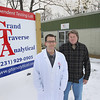 Record-Eagle/Keith King<br /> Mike Riebschleger, left, and co-owner Kirk Chase, stand Friday, December 28, 2012 outside of Grand Traverse Analytical independent testing lab in Traverse City.