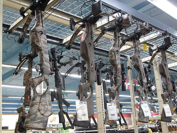 Record-Eagle/Mark Urban<br /> With the expansion of hunting restrictions, cross bows like these at Gander Mountain in Traverse City have been a popular gift item this Christmas.