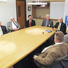 Record-Eagle/Michael Walton<br /> Traverse City Area Public Schools Superintendent Stephen Cousins, third from right, discusses several pieces of proposed legislation during a press conference held by area superintendents yesterday. Also pictured from left to right: Frankfort-Elberta Area Schools Superintendent Tom Stobie, Kalkaska Public Schools Superintendent Lee Sandy, Kingsley Area Schools Superintendent Keith Smith, Traverse Bay Area Intermediate School District Superintendent Mike Hill, Glen Lake Community Schools Superintendent Joan Groening and Buckley Community Schools Superintendent Rick Heitmeyer.