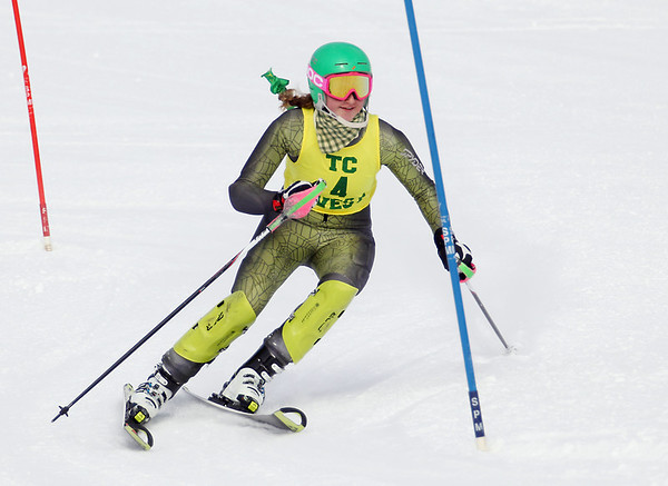 Record-Eagle/Keith King<br /> Traverse City West's Monica Hessler (4) competes in the slalom Wednesday, February 6, 2013 during a Big North Conference meet at Crystal Mountain in Thompsonville.