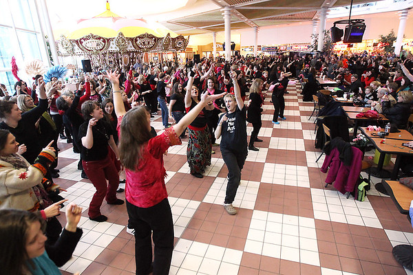 Record-Eagle/Keith King<br /> Dancers participate in the One Billion Rising flash mob event Thursday, February 14, 2013 at the Grand Traverse Mall. An estimated 200 countries staged One Billion Rising events to protest violence against women.