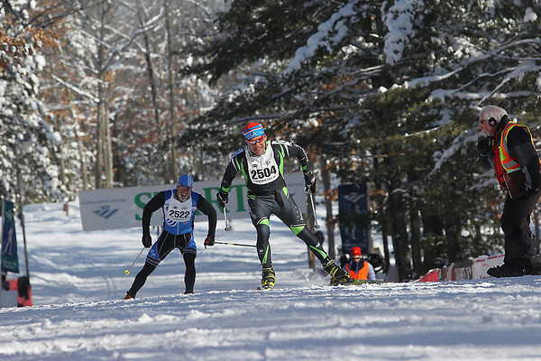 Record-Eagle/Jan-Michael Stump<br /> Milan Baic (2504) finishes ahead of Bradley White (2522) in the North American VASA 27k freestyle Saturday at Timber Ridge Resort in East Bay Township.