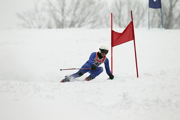 Record-Eagle/Jan-Michael Stump<br /> Benzie Central's David Cuningham takes his first run in the boys giant slalom in Thursday's Division 2, Region 5 ski regional at Crystal Mountain.
