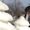 Record-Eagle/Keith King<br /> Adam Miller, of Saginaw, works on a snow sculpture Friday for the Cherry Capital Winter Wowfest.
