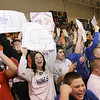 Record-Eagle/Keith King <br /> The Central Lake student section cheers after Jasmine Hines scores her record-breaking basket Tuesday.
