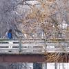 Record-Eagle/Tessa Lighty <br /> A pedestrian crosses the foot bridge near Cass Street in Traverse City.