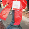 Record-Eagle/Loraine Anderson<br /> One of the more than 100 red ribbons tied around Front Street lamp posts remind area residents that heart disease is the top killer of women, as it is also for men.  February is heart health awareness month.