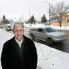 Record-Eagle/Keith King<br /> Matt Skeels, Traverse City Transportation and Land Use Study (TALUS) coordinator, stands Friday, February 15, 2013 along Front Street in Traverse City.