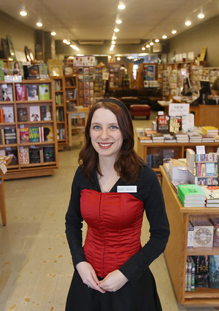 Record-Eagle/Keith King<br /> Heather Mork, operations manager, stands Friday, February 22, 2013 in Brilliant Books in Traverse City.