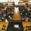 Record-Eagle/Keith King<br /> Attendees gather Thursday, February 21, 2013 for the funeral of Christa Pipoly and her father David Pipoly in the gymnasium at Kingsley High School.