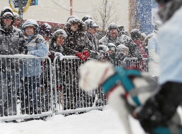 Record-Eagle/Keith King<br /> Spectators watch the Monster Dog Pull in heavy snow Saturday, February 16, 2013 on Front Street during the Traverse City Winter Comedy Arts Festival.