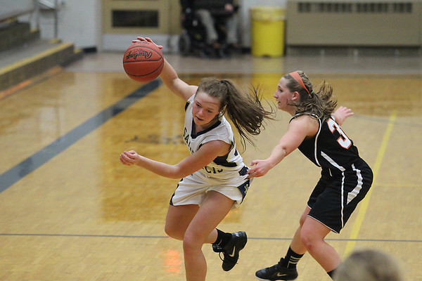 Record-Eagle/Jan-Michael Stump<br /> Elk Rapids' Brittany Trout (32) fouls Traverse City St. Francis' Liza Erickson (32) in the second half of Monday's game.