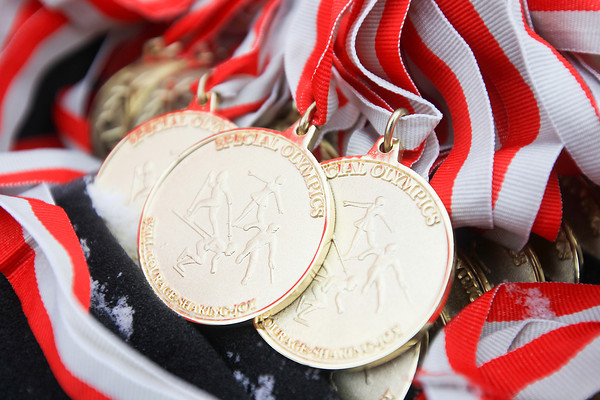 Record-Eagle/Keith King<br /> Special Olympics medals lie on a table prior to being awarded to athletes Thursday during the Special Olympics Michigan State Winter Games.