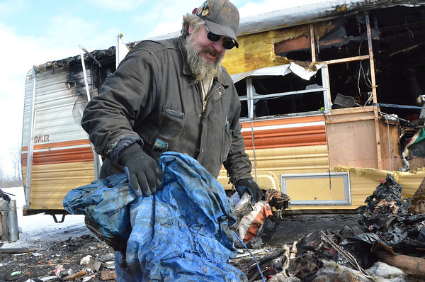 Record-Eagle/Allison Batdorff<br /> A camper fire destroyed Williams James Berkshire's home Sunday night after his wood stove blew up and ignited the mattress.