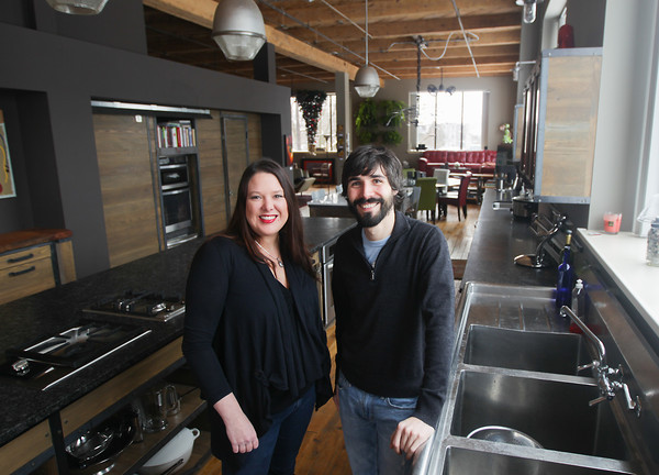 """Record-Eagle/Keith King<br /> Rachel Warren and DC Hayden, creators, directors and producers of the show,"""" Party in the Pantry,"""" stand Tuesday in The Box, in Traverse City."""