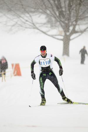 Record-Eagle/Keith King<br /> John O'Hearn approaches the finish line to be the White Pine Stampede male overall winner in the 20K freestyle race.