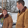 """Allison Batdorff/Record Eagle<br /> Both Felicitas """"Faye"""" Hovland, right, and Pete Kinsey, left, make common practice of picking up stranded folks alongside the road. Kinsey needed this """"karma"""" early Tuesday morning when the Great Lakes Maritime Academy student's truck died on South Airport Road. Hovland picked him up moments later, prompting a grateful note to the """"anonymous"""" woman by Kinsey's mother on the Record Eagle's Facebook page."""