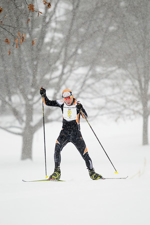 Record-Eagle/Keith King<br /> Alex Vanias  nears the finish line to finish as the White Pine Stampede male overall winner in the 50K freestyle race.