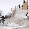 Record-Eagle/Keith King<br /> Competitors participate in the EpicHappens 'Downtown Throwdown Rail Jam' during the Cherry Capital Winter WowFest.