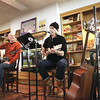 Record-Eagle/Keith King<br /> Sandy Blumenfeld, right, performs as Kurt Bullock, left, both members of Songwriters in the Round, listens Friday, February 15, 2013 at the Horizon Shine Cafe in the lower level of Horizon Books in Traverse City.