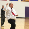 Record-Eagle/Jan-Michael Stump<br /> Glen Lake coach Todd Hazelton reacts to a Laker basket during Thursday's game at Frankfort